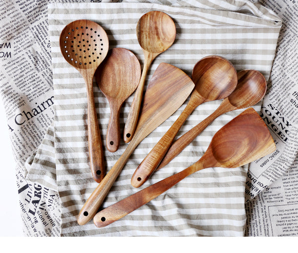 Thai Teak Natural Wood Kitchen Utensils | Set of 7