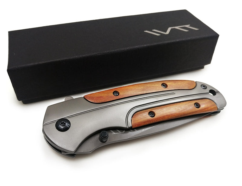 Professional Survival Folding Pocket Knife with Wooden Rosewood Handle