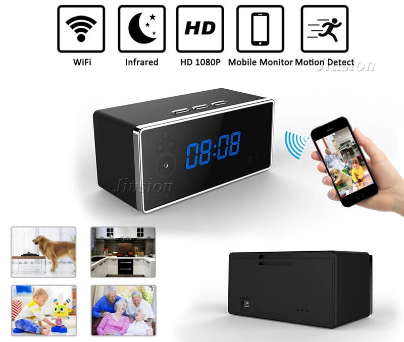 Professional HD 1080P Wireless Alarm Clock with Hidden Camera | Night Vision, Motion Sensor, Video Recorder