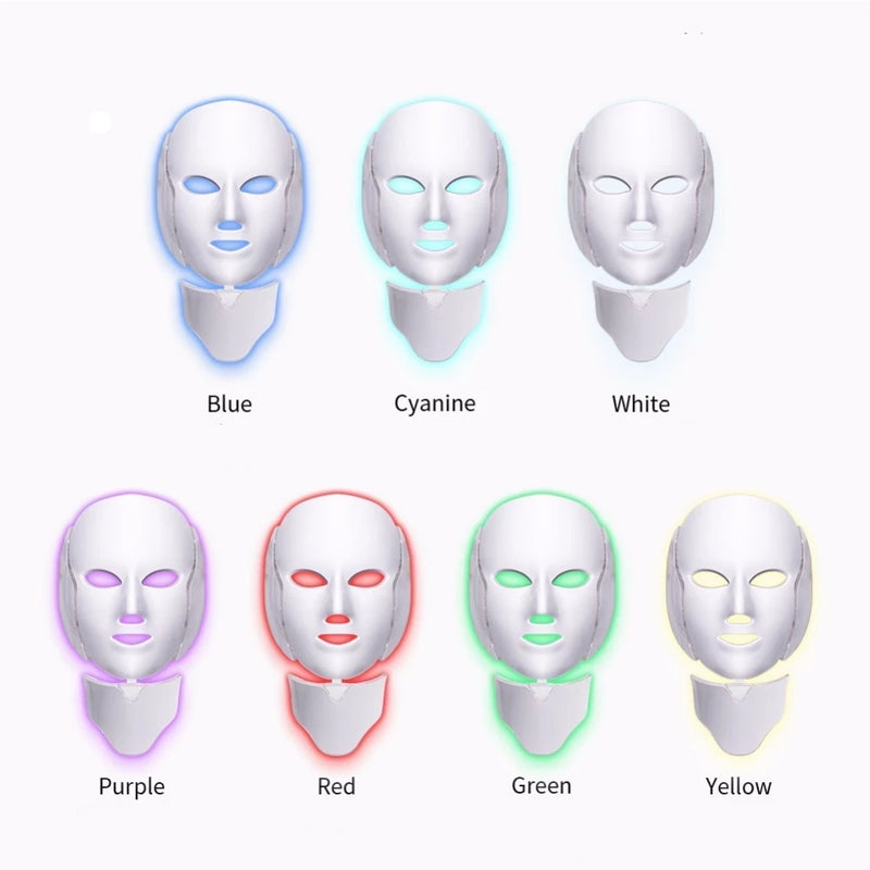 LED Light Therapy Facial Mask - Anti Aging Acne Wrinkles Skin Care Rejuvenation Face Phototherapy Mask