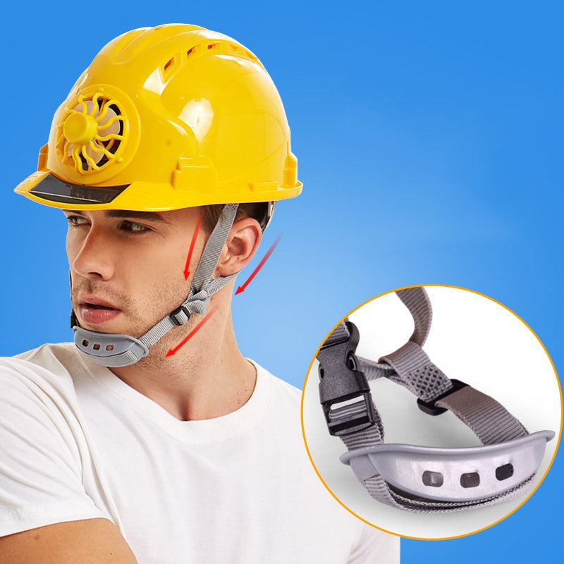 Vented Construction Hard Hat Helmet with Solar Powered Fan
