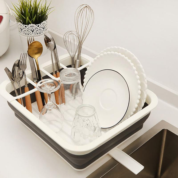 Foldable Dish Drying Rack Drainer Kitchen Organizer