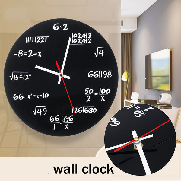 Matte Black Math Equations Wall Clock
