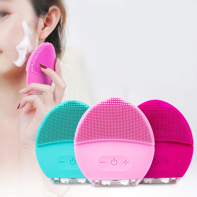 Electric Face Cleansing Brush Advanced Facial Exfoliation Device with Ultrasonic Vibration