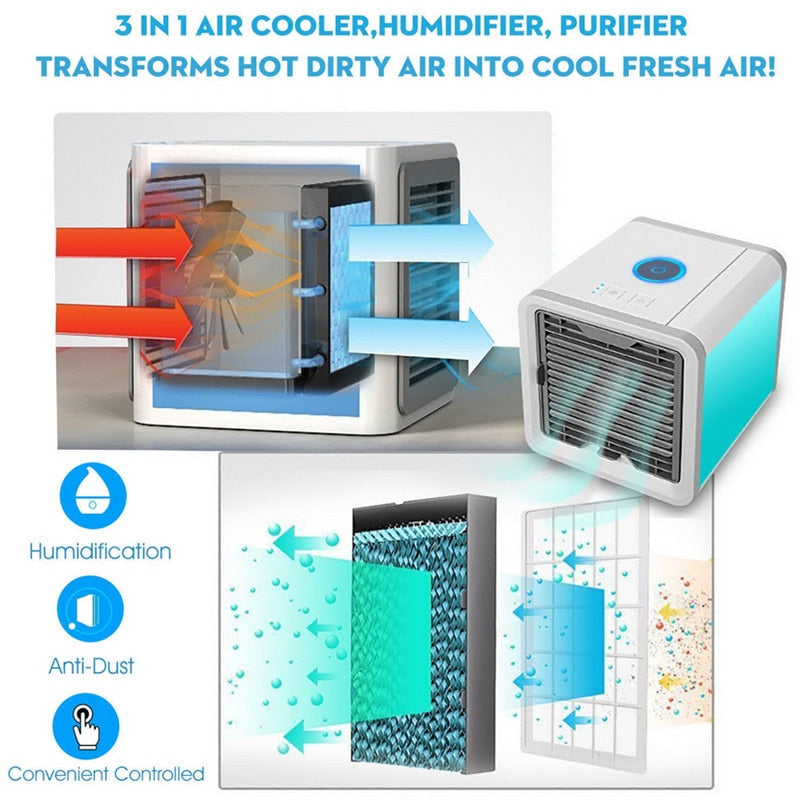 Artic Air Portable 3-in-1 Air Conditioner Humidifier Purifier - 7 LED Lights