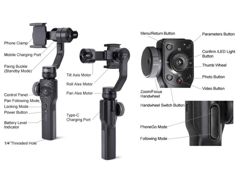Zhiyun Smooth 4 Handheld 3 Axis Smartphone Gimbal Stabilizer Camera