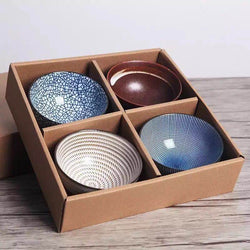Japanese Inspired Porcelain Bowls (4-Set) - Oussirro Collection