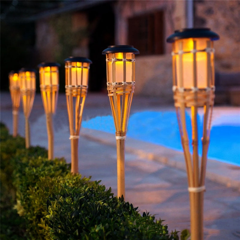 Outdoor Bamboo Tiki Light Torches