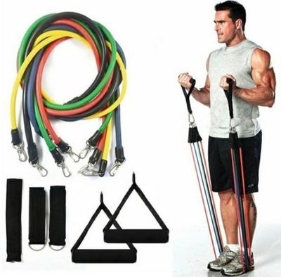 Full Body Workout Resistance Bands 12-Piece Set With Latex Tubes, Pull Rope, Door Anchor, Handles & Ankle Straps