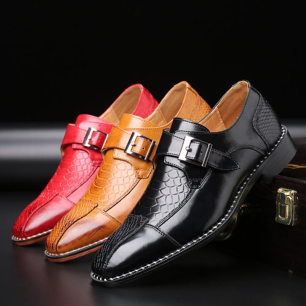 Fashion Monk Strap Men Italian Formal Dress Shoes   Business casual shoes