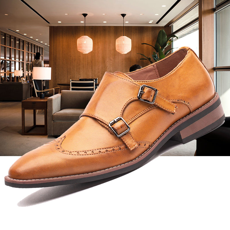 New Business Dress Shoes Formal Monk Shoes Carved Brogue Shoes