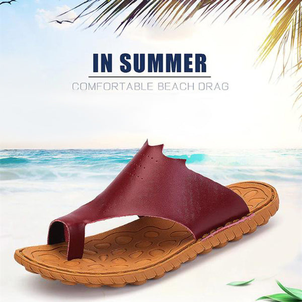Male Genuine Leather Casual Massage Flip Flops