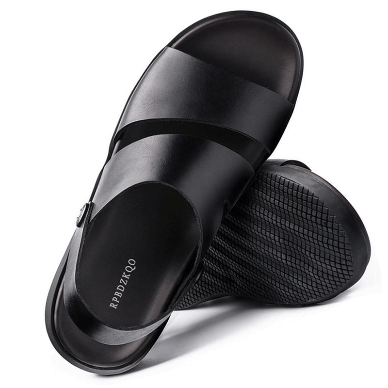 2019 Men's Open Toe Casual Sandals Leather Water Shoes Black Strap Flat