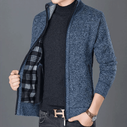 Quality Men's Knitwear Cardigan Sweater Stand Collar Outerwear Casual Jackets