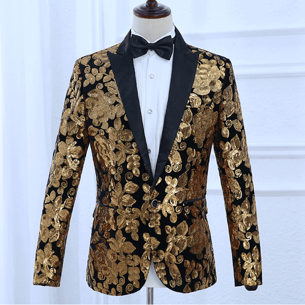 Luxury Men's Shawl Lapel Blazer Satins Velvet Gold Flowers Sequins Suit Jacket