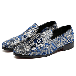 2019 New Men's Embroidery Shoes Suede Leather Wedding Shoe Slip-On