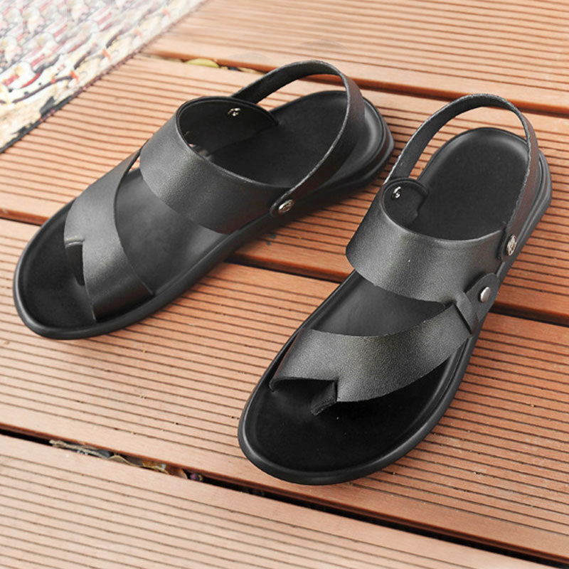 Men Sandals Comfortable Men Summer Split Leather Flip flop Men Breathable Slippers