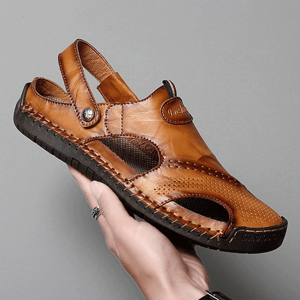 Men's Summer Soft Leather Sandals Beach Slip-on Shoes