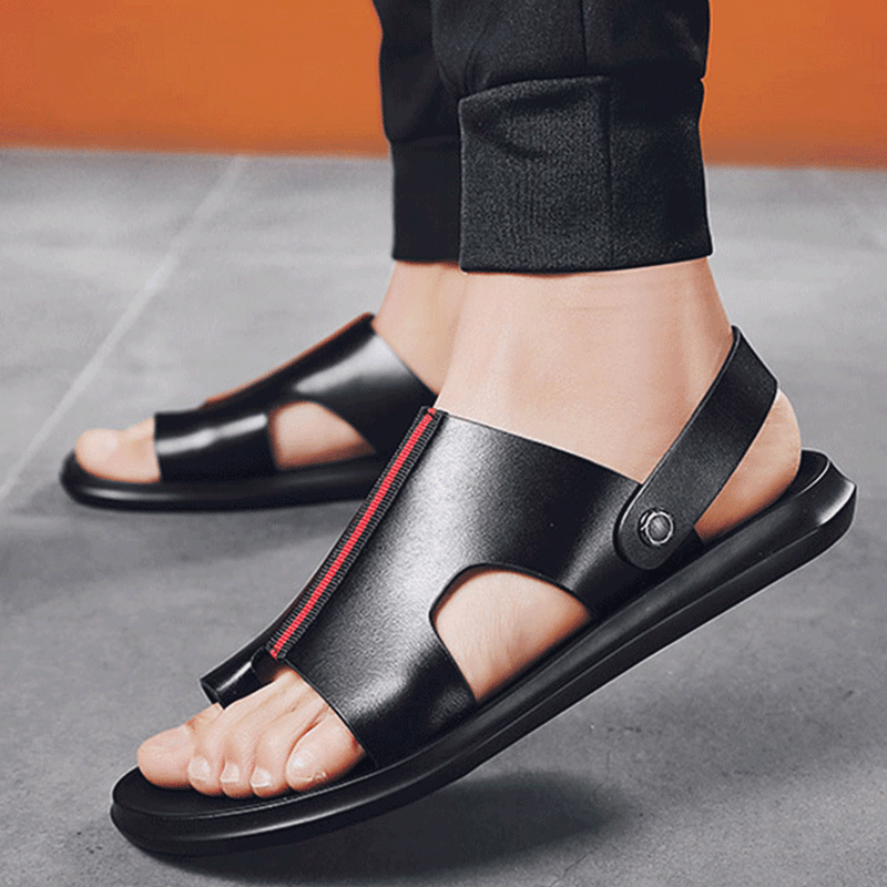 2019 New Men's Sandals Genuine Leather Slippers Rubber Beach Slip-on Shoes
