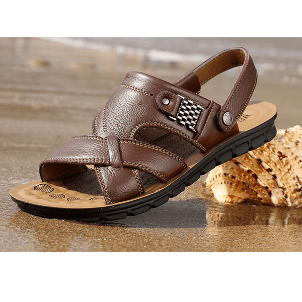 Men's Genuine Leather Beach Sandals Summer Travel Slippers Cool Shoes