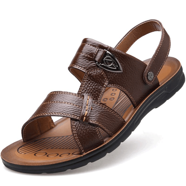 Top Quality Men's Genuine Leather Summer Beach Sandals Large Size Slip-on Shoes