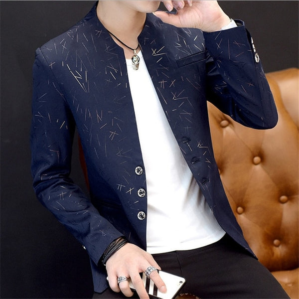 Men's Casual Blazer Suit Trendy Shallow Collar Slim-fit Clothes (Important Note:Please choose the size according to the size table)