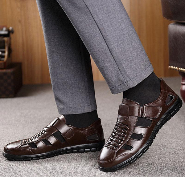 Men's Genuine Leather Summer Sewing Massage Outdoor Sandals