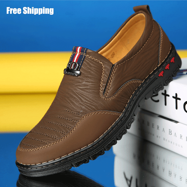 2019 New Men's Split Leather Casual Loafer Shoes Slip-On Flat Moccasins