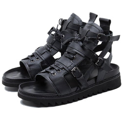 High Top Peep Toes Cross-Tied Ankle Buckle Strap Male Sandal