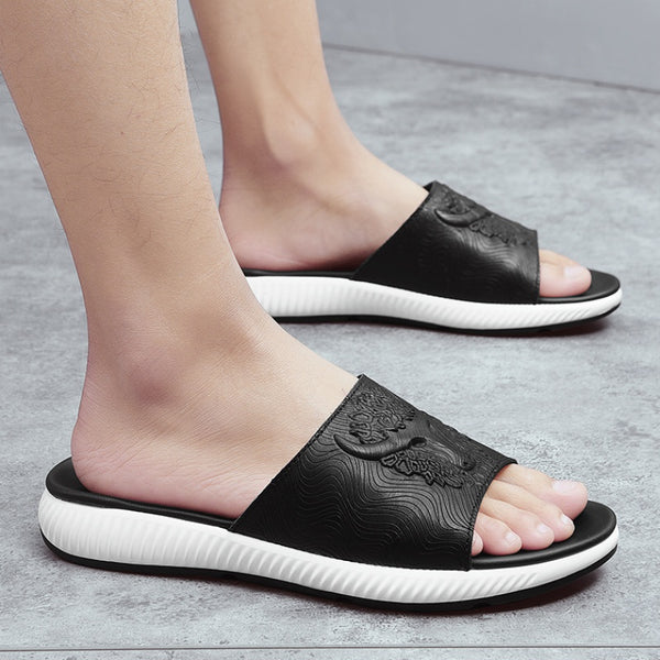 Genuine Leather Non-slip Male Slippers