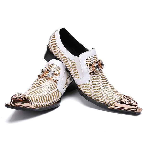 Men's Pointed Toe Bling Bling Casual Dress Shoes Luxury Brand Oxford Shoes