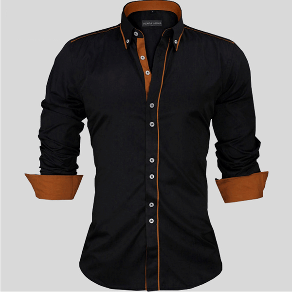 Quality Men's Shirts Solid Long Sleeve Cotton Slim Fit Shirt