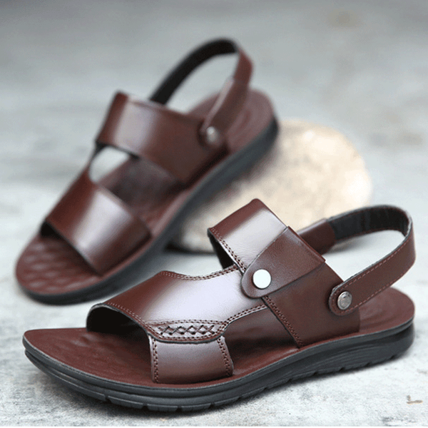 Summer Men's Genuine Split Leather Sandal Beach Slip-on Shoes-Plus Size