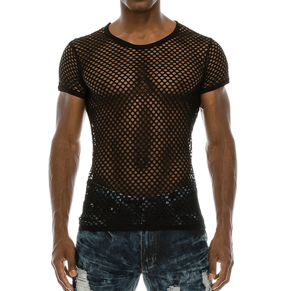 Fashion Men's Mesh Sexy See-through t-shirt Fishnet Compression T-shirt Compression