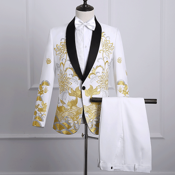 2019 Men's Shawl Lapel Embroidered Prom Suits Singer Costume Suits With Pants