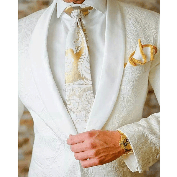 2019 Men's Suits Ivory Tuxedos Shawl Lapel Wedding Groom Suits( jacket+Pants)
