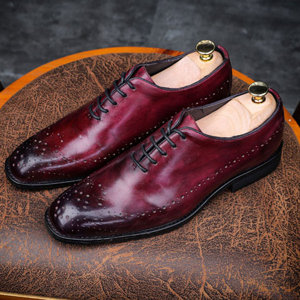 Men's Dress Shoes Carved Genuine Leather Oxford Wedding Shoe Brogue