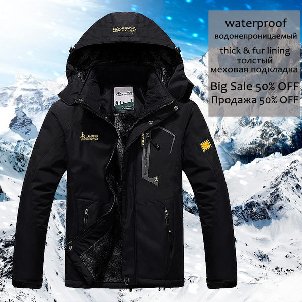 Winter Thick Warm Parka Coat Waterproof Pockets Hooded Fleece Windbreaker (Important Note:Please choose the size according to the size table)