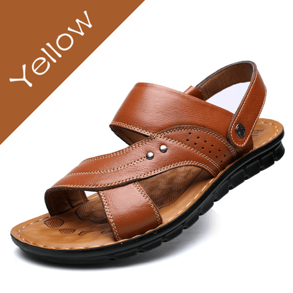 Quality Men's Genuine Leather Summer Sandals Slip-on Slippers