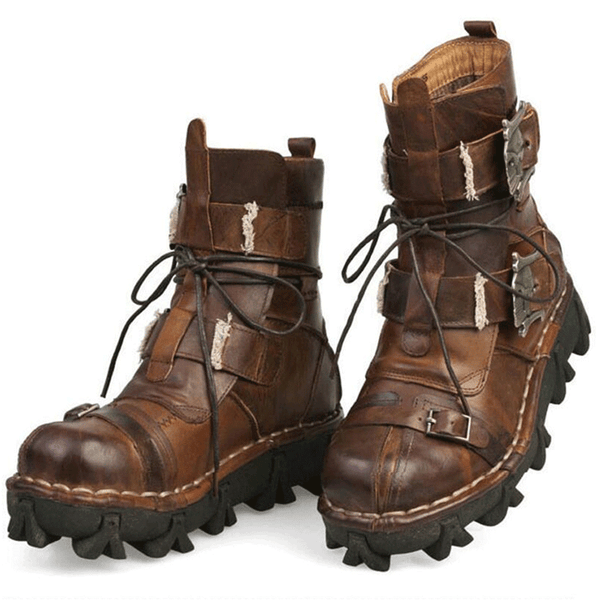 Top Quality Men's Genuine Cowhide Leather Combat Motor Boots