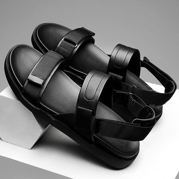 Men's Summer Split Leather Sandals Chunky Flats Beach Shoes