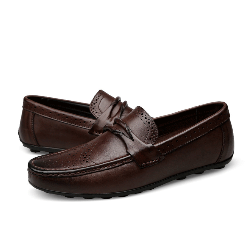 fc70c1064a Luxury Men's Genuine Leather Shoes Flat Loafer Slip-on Boat Shoes ...