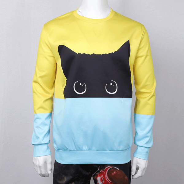 3D Cat Hoodies Men's Sweatshirt Black Cat Hoody Pullovers T-shirt Sportswear