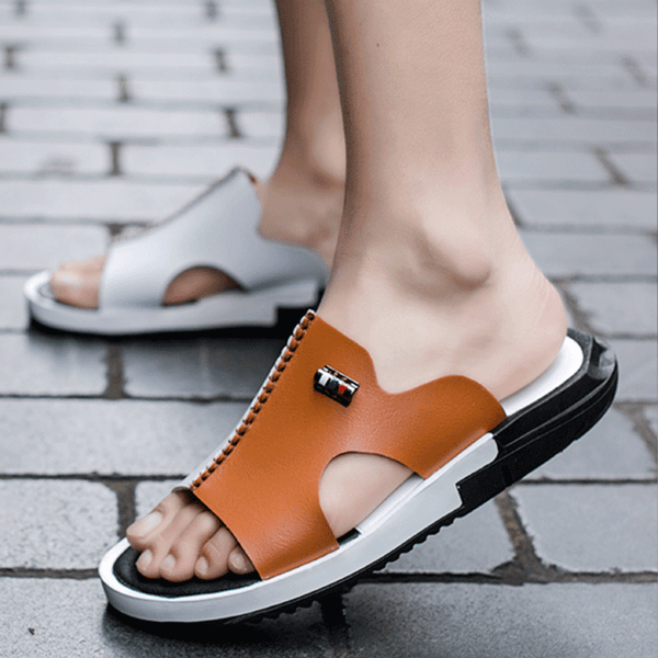 2019 Summer Men's Peep-Toe Sandal Slippers Non-slip Beach Slides