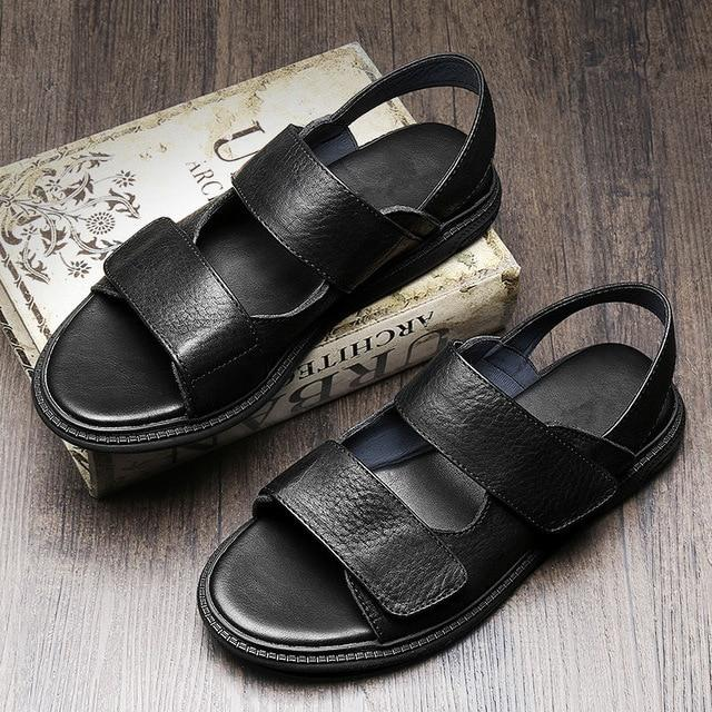Men's Real Leather Beach Breathable Casual Open Toe Soft Sandals