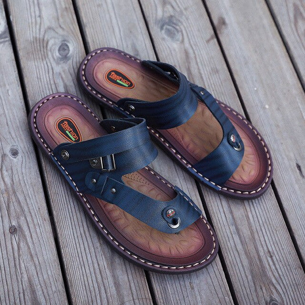 Men Large Size Clip Toe Dual-purpose Leather Sport Beach Flip Flops