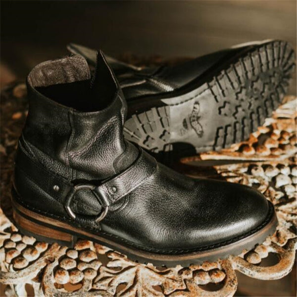 Wedge Leather High Top Handmade Buckle Ring Strap Men Chelsea Boots