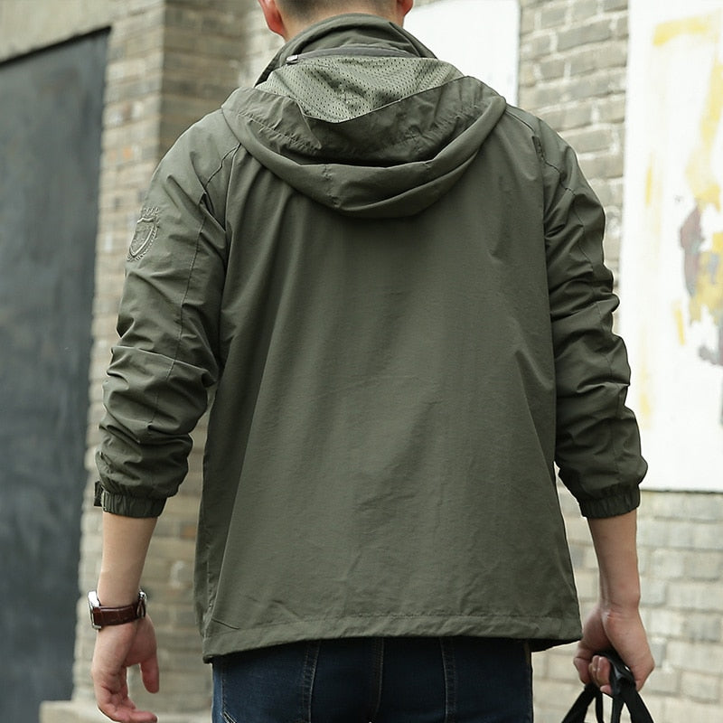 Fashion Waterproof Hooded Male Jacket Thin Casual Motorcycle Windbreaker (Important Note:Please choose the size according to the size table)