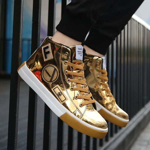 High-top Male PU Leather Hip Hop Style Lace-up Shoes