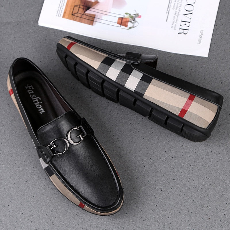Men's Casual Genuine Leather Flats Driving Shoes